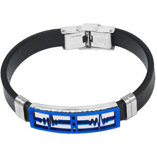 Sullery Biker Life Line Wave Wristband With Stainless Steel Foldover Clasp