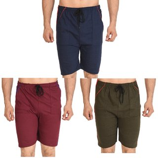 Dia A Dia Unisex Combo of 3 Navy,Olive,Red Cotton Shorts