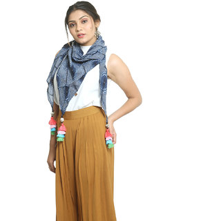 Grishti Womens Blue Rayon Printed Free Size Scarf