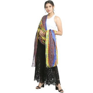 Grishti Womens Multicolour Muslin Cotton Printed Free Size Stole