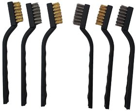 DIY Crafts Mini Wire Brush Set for Cleaning Welding Slag and Rust (Pack of 6 Stainless Steel and Brass Brushes)