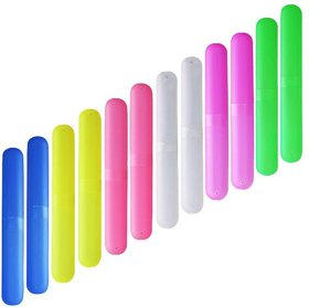 DIY Crafts Plastic Toothbrush Case Portable  Dust-Proof (Pack of 12)