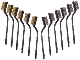 DIY Crafts Mini Brass and Stainless Steel Wire Brush Set for Cleaning (170 mm) (Pack of 12)