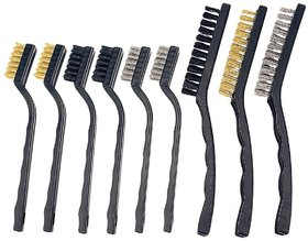 DIY Crafts Brass and Stainless Steel Wire Brush Set for Cleaning (Pack of 9 Brushes)