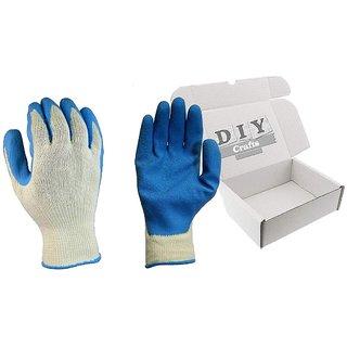 DIY Crafts Reusable Latex Coated Velvet Finish Cotton Large Hand Work Glove (26 cm) (2 Pair)