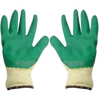 DIY Crafts Reusable Multi color Coated Velvet Finish Cotton Large Hand Work Glove (26 cm) (2 Pair)