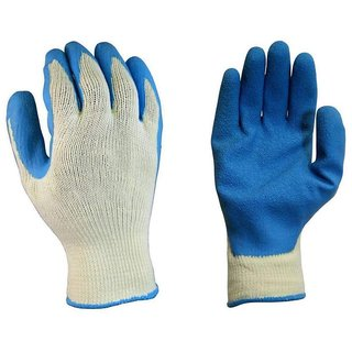 DIY Crafts 3 Pair Latex Coated Cotton Large Work Latex Safety Gloves