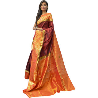 Indians Boutique's Pure Silk Saree (Yellow)