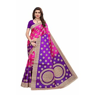 Indian Beauty Women's Cotton Blend With Blouse Saree