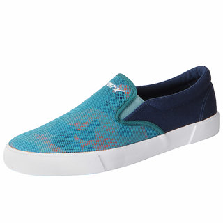 Sparx Men's Sky Blue Printed Canvas Loafers Casual Shoes
