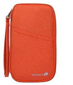 Travel Passport Holder Document Credit Card Wallet Organizer Bag-Orange