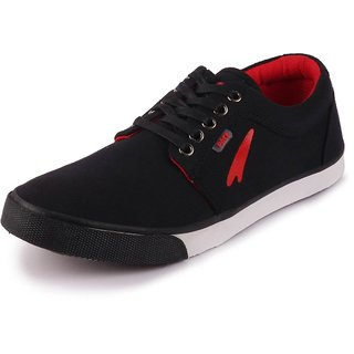 Lakhani Men's Black Canvas Lace Up Sneakers Casual Shoes