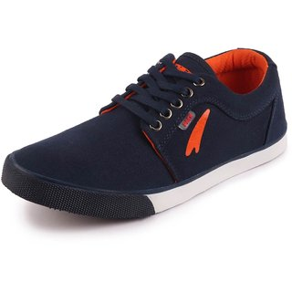 Lakhani Men's Navy Canvas Lace Up Sneakers Casual Shoes
