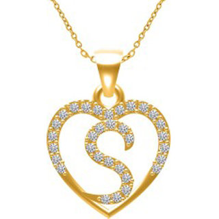 intial letter S gold plated pandant  for unisex