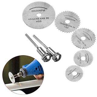 DIY Crafts Combo of 2 Pcs Madrel and 5 Pcs HSS Circular Rotary Cutting Blades