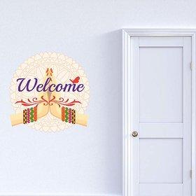 100yellow Welcome Door Sticker(Pack of 1)
