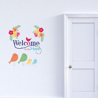 100yellow Welcome To Our Sweet Home Door Sticker(Pack of 1)