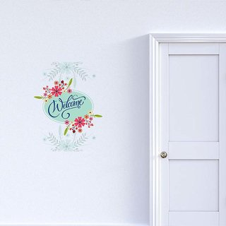 100yellow Welcome Floral Door Sticker Pack of 1  Wall Stickers