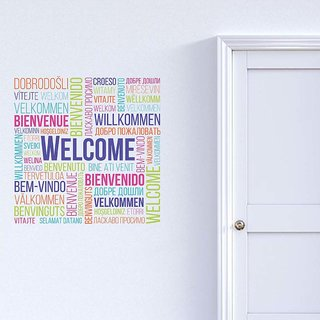 100yellow Welcome Colourful Door Sticker(Pack of 1)