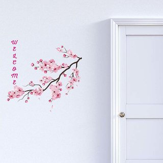 100yellow Welcome Pink Floral Door Sticker(Pack of 1)