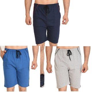 Unisex Combo of 3 Cotton Shorts By Dia A Dia  (Navy, Grey, Black)
