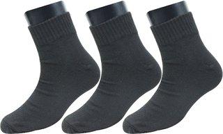Neska Moda Pack of 3 Pair Men Solid Free Size Cotton Ankle Length Socks Black Color Formal Socks