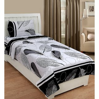 SHAKRIN Polycotton 3D printed Single Bedsheet with 1 Pillow Cover- White-Grey (Feather Print)