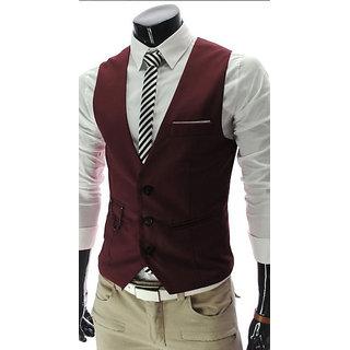 DIA A DIA Men's Poly Viscose V-Shape Tuxedo Style Waistcoat