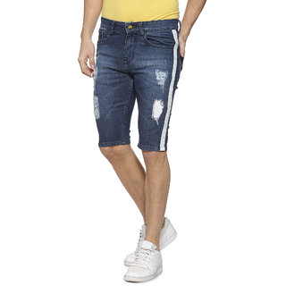 Campus Sutra Men Torn Jeans With Side Stripe Short