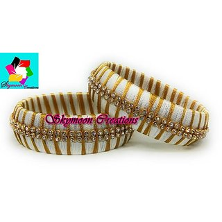 White  Color Silk Thread Bangles Jelwery