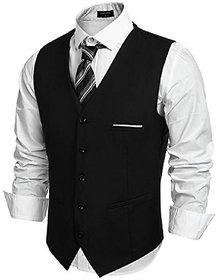 Dia A Dia Men's Poly Viscose V-Shape Tuxedo Style Black Regular Fit Waistcoat
