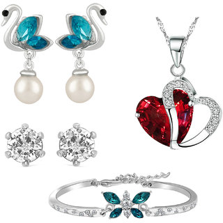 Mahi Rhodium Plated Valentine Gift Multicolor Combo of Pendant Earrings and Bracelet with Crystal for women CO1104903R