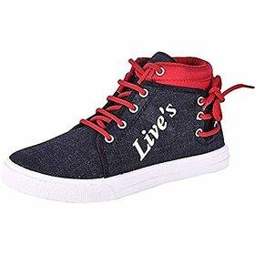 Ethics Denim Red Sneaker Shoes for Men