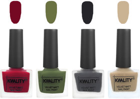 Kwality Premium Velvet Dull Matte Nail Polish Berry ,Olive Green,Dark Grey,Nude