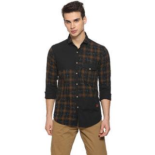 Campus Sutra Men's Brown Checks Casual Shirts