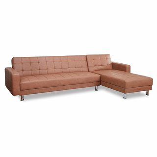 houzzcraft Curze L shape sofa tan