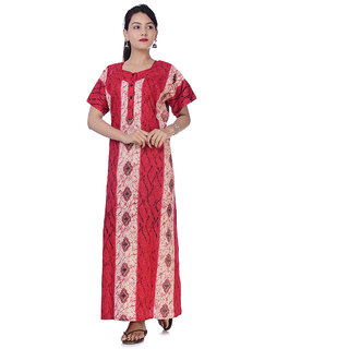 Indian Women Cotton Night Gown Bikni Cover Plus Size Comfy Evening Holiday  Night Gown House Dress