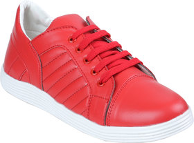 Adiction Men's Red Casual Synthetic Lace Up Sneakers