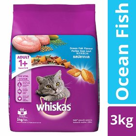 Whiskas Adult Dry Cat Food, Ocean Fish flavour  3 kg Pack