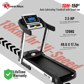 Powermax Fitness TDM-150 (2.5 HP) Smart Run Function Auto Lubrication Motorized Treadmill for Cardio Workout