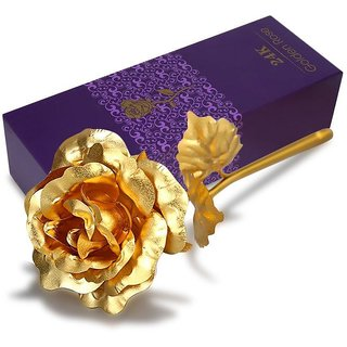 De-Ultimate 24K Golden Foil Rose With Gift Box And a Nice Carry Bag - Best Gift to Express love on Valentines Day