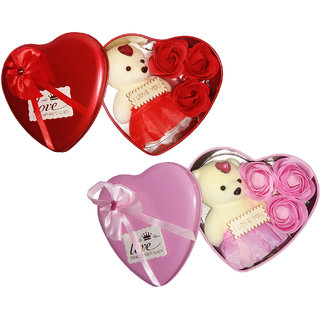 Teddy and Rose with Heart Shape Box Combo Best Valentine's Gift For Your Love One