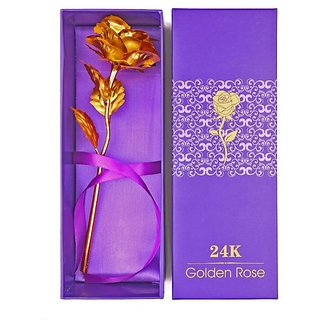 Stylewell 24K Golden Foil Rose With Gift Box And a Nice Carry Bag - Best Gift to Express love on Valentines Day