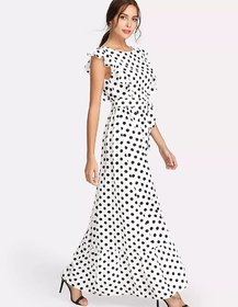 WC-1551 Westchic White with Black Dot Long Dress