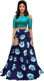 New Latest Designer SkyBlue Color SatinSemi Stitched Printed Lehenga By Omstar Fashion (LotusSky)