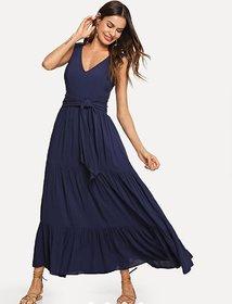 WC-1553 Westchic Nevy Blue V-Neck Long Dress