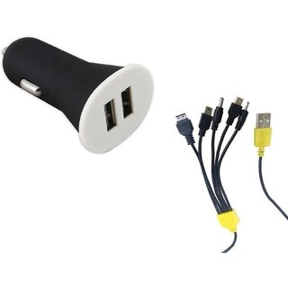 5 IN 1 UNIVERSAL CAR CHARGER WITH LONG TELEPHONE LIKE WIRE-WORKS FOR ALL IPHONE, SAMSUNG  ANDROID PHONES