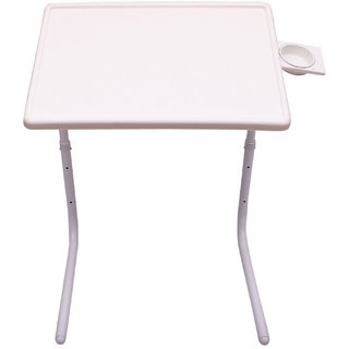 Dazzy Portable Adjustable Home Office Study Laptop Table (WHITE, Cup Holder)