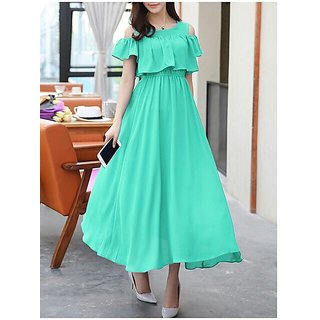 WC-1555 Westchic Green Cold Shoulder Long Dress