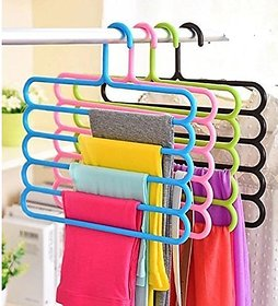 Sell Net Retail Wardrobe Cloth Hangers  5 Layer Space Saving Hangers, Pack of 4 (Multi-Color)
